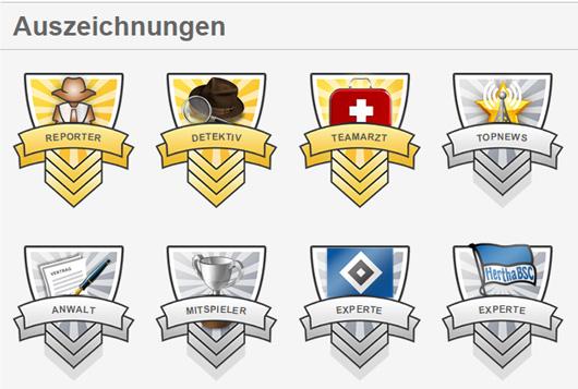 Medaillen und Belohnungen / Badges